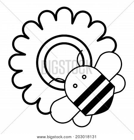 Bee on flower icon. Outline illustration of bee on flower vector icon for web design isolated on white background