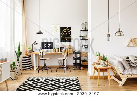 Contemporary room in scandinavian style with office interior with desk poster retro chairs and cactus and open living room with sofa and wooden furniture