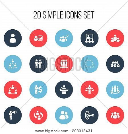 Set Of 20 Editable Community Icons. Includes Symbols Such As Corporate, Command, Goal