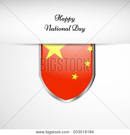 illustration of shield in China flag background with Happy National Day text on the occasion of China National Day