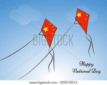 illustration of kites in China flag background with Happy National Day text on the occasion of China National Day