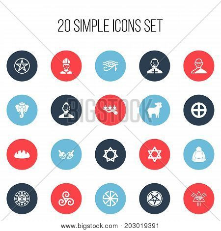 Set Of 20 Editable Faith Icons. Includes Symbols Such As Enchanter Stick, Plus In Circle, Clergyman And More