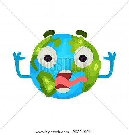 Cute cartoon frightened Earth planet emoji, humanized globe character with emotions colorful vector Illustration on a white background