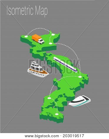 Map Japan isometric concept. 3d flat illustration of Map Japan.