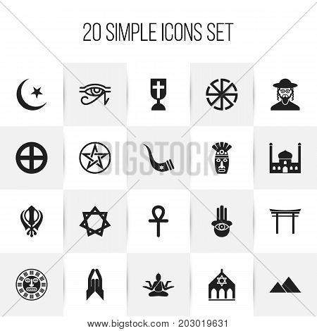 Set Of 20 Editable Dyne Icons. Includes Symbols Such As Blessing, Shinto, Mohammedanism And More