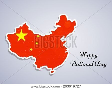 illustration of china map in China flag background with Happy National Day text on the occasion of China National Day