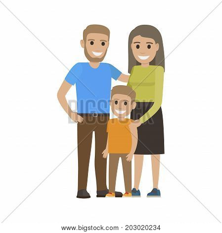 Married couple in casual cloth and little son. Family going to spend free time together. Smiling parents and boy isolated. Man woman and child on white. Parenthood concept vector illustration in flat