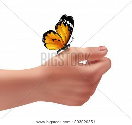 Vector illustration of human right hand with butterfly. Close-up, isolated on white background