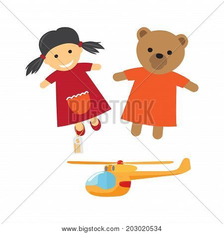 Kids toys for boys and girls. Cute pig-tailed girl, teddy bear in dress dolls and helicopter flat vectors isolated on white background. Vintage toys cartoon illustrations for childhood concepts