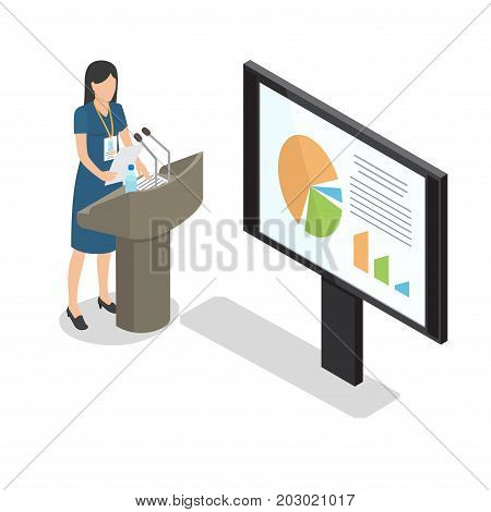 Report businesswoman at podium with diagrams on big monitor on white background. Female with badge holding paper in one hand. Two microphones, paper and flask of water on podium vector illustration