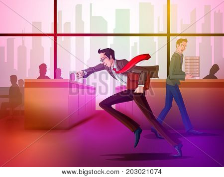 Concept of businessman in hurry to meet the deadline of project. Vector illustration