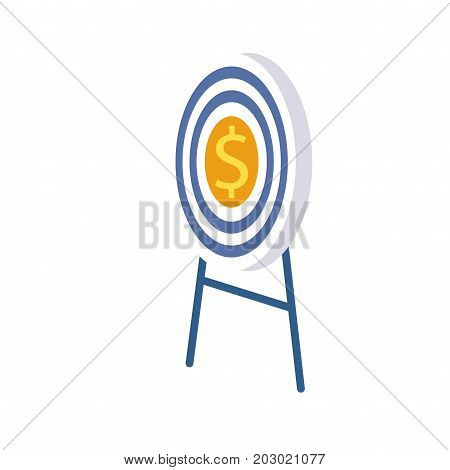 Target in center with formidable dollar in yellow circle stands on two blue stands. Goal is to enrichment in cartoon style flat design vector illustration. Target of golden coin on white background.