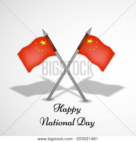 illustration of China flags with Happy National Day text on the occasion of China National Day