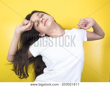 Ten-year Sleepy Girl Wakes Up And Yawning