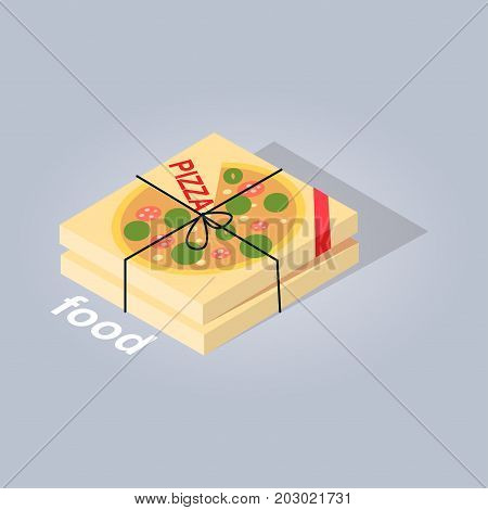 Delivered pizza from online food store web banner flat design on gray background. Two cardboard boxes with eating tied with black rope. Vector illustration of e-commerce in cartoon style art theme.