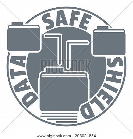 Data save shield logo. Simple illustration of data save shield vector logo for web design isolated on white background
