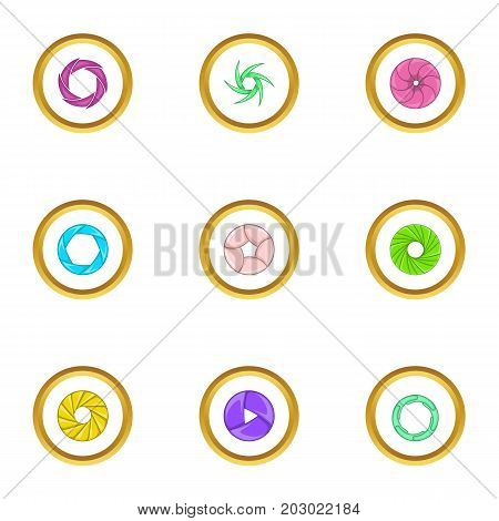 Shutter icons set. Cartoon set of 9 shutter vector icons for web isolated on white background