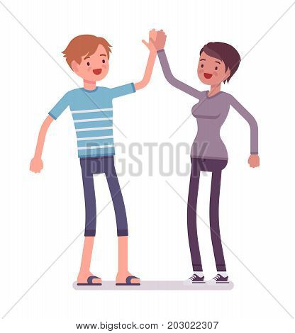 Young man and woman giving high five. People meeting at a party, participate in social activities. Friendship and life concept. Vector flat style cartoon illustration, isolated, white background