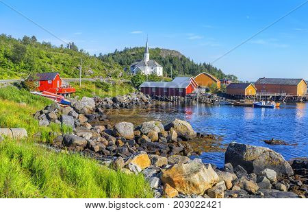 Moskenes Fishing Village In Lofoten Islands And Moskenes Church