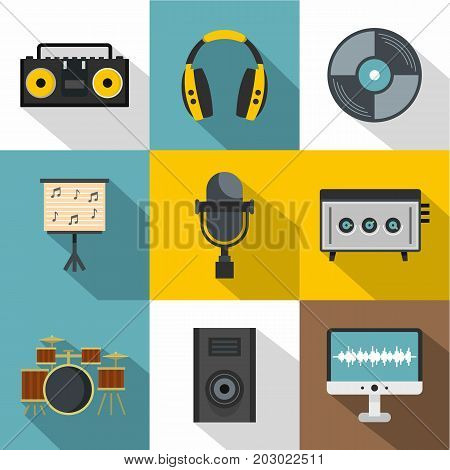 Music recording icon set. Flat style set of 9 music recording vector icons for web design