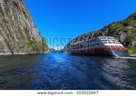 Cruise Ship On Trollfjord (trollfjorden) In The Lofoten Islands, Norway.