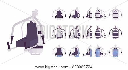 Jet pack set in white color. Hands-free hover, rocket belt device for extreme personal flight. Vector flat style cartoon illustration, isolated, white background. Different positions