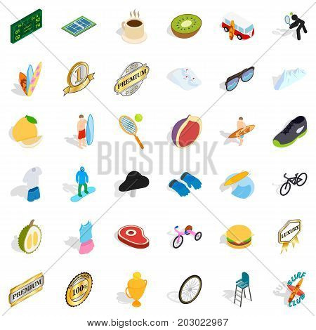 Achievement icons set. Isometric style of 36 achievement vector icons for web isolated on white background