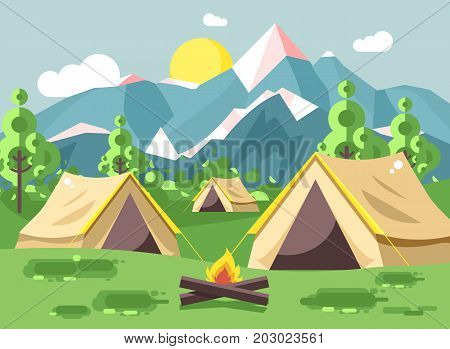 Stock vector illustration cartoon nature national park landscape with three tents camping hiking bonfire, open fire, bushes lawn, trees, daytime sunny day outdoor background of mountains in flat style