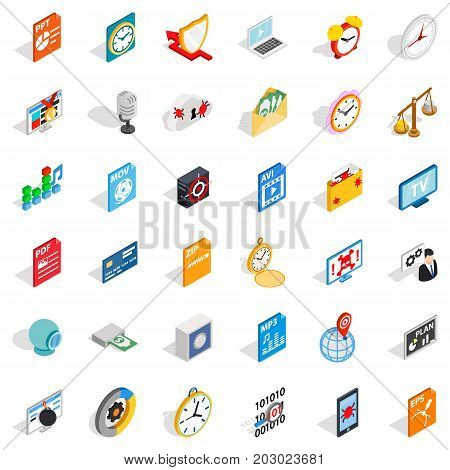 Multimedia icons set. Isometric style of 36 multimedia vector icons for web isolated on white background