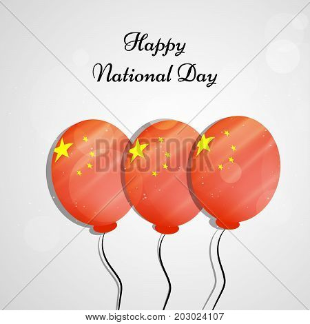 illustration of balloons in China flag background with Happy National Day text on the occasion of China National Day
