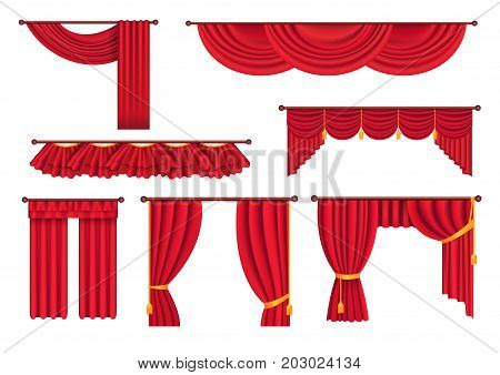 Scarlet pompous curtains collection on white. Vector poster in flat style of pelmets and curtains hanging on special curtain cornices. Set of colorful blind element for windows to protect sunshine poster