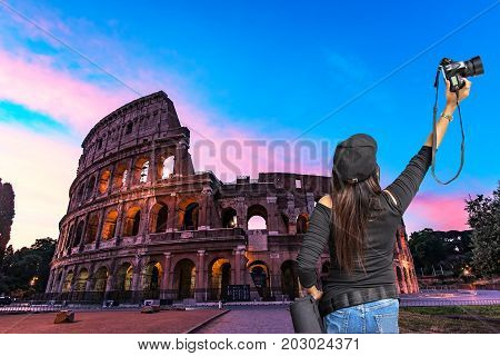 Night view of the Colosseum in Rome Italy. Rome architecture and landmark historical architecture Rome Colosseum is one of the main attractions of Rome and Italy.