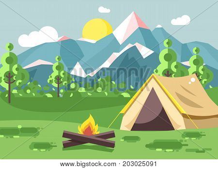 Stock vector illustration cartoon nature national park landscape with lonely tent camping hiking bonfire, open fire, bushes lawn, trees, daytime sunny day outdoor background of mountains in flat style