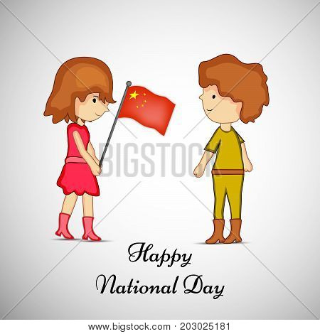 illustration of boy and girl holding China flag with Happy National Day text on the occasion of China National Day