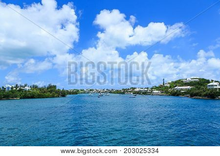 Boats in a Protected Harbor on Bermuda