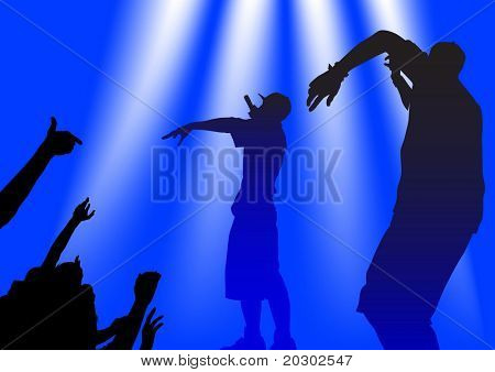 silhouette of the artists of hip hop. A live performance on stage