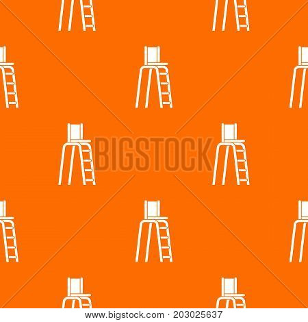 Tennis tower for judges pattern repeat seamless in orange color for any design. Vector geometric illustration