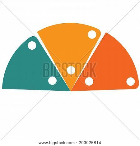 Flat template infographic color semicircle for 3 positions
