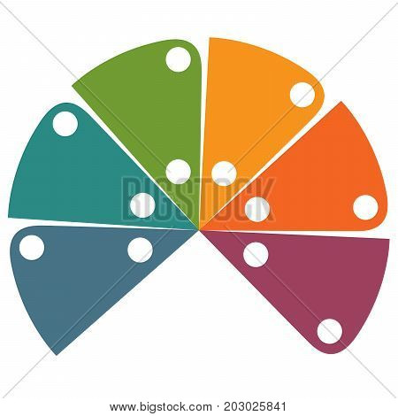 Flat template infographic color semicircle for 6 positions