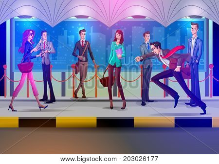 Concept of people waiting on bus stop. Vector illustration