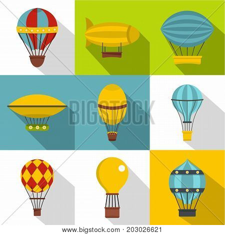 Airships icon set. Flat style set of 9 airships vector icons for web design
