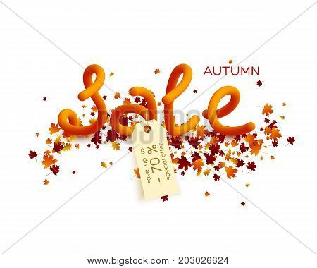 Autumn sale poster design. 70 percent discount tag. Leaves with 3d letters. Fall foliage background. Vector illustration.