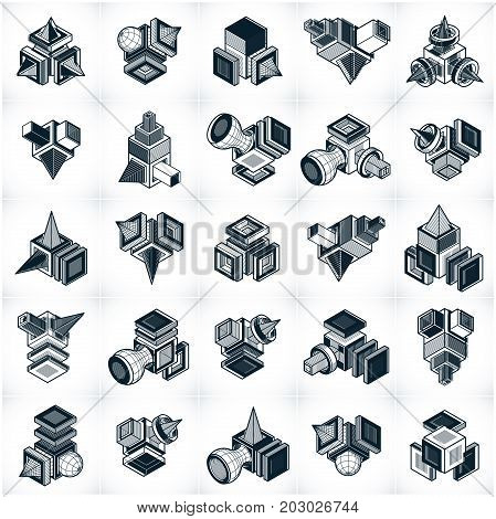Abstract vectors 3D simple geometric shapes set.
