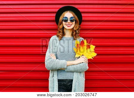 Fashion Autumn Portrait Smiling Woman Holds Yellow Maple Leaves On A Red Background