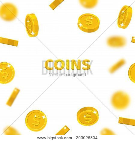 Flying gold dollars cartoon frame. Background of the flying gold of dollars in the form of a frame in a cartoon style. Cover gold pieces in the form of vector illustrations