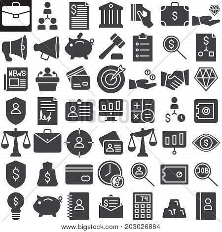 Business finance vector icons set, modern solid symbol collection, filled pictogram pack. Signs, logo illustration. Set includes icons as redit card, scales, presentation, agreement, business card