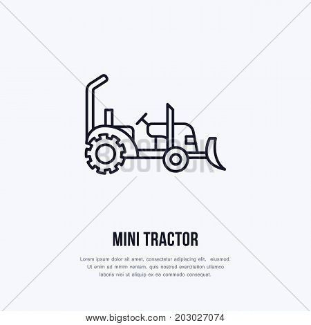 Mini tractor vector flat line icon. Transportation logo. Illustration of agriculture wheel, industrial equipment rent.