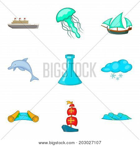 Deep icons set. Cartoon set of 9 deep vector icons for web isolated on white background
