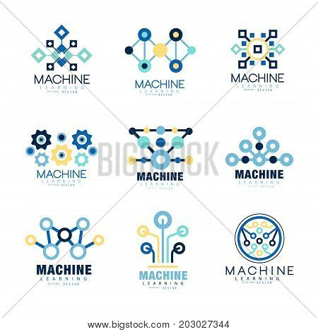 Learning machine label original design set of vector Illustrations on a white background