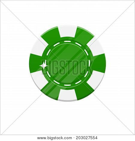 Green casino chip cartoon style isolated. The original casino chip for designers and illustrators. Casino bet in the form of a vector illustration